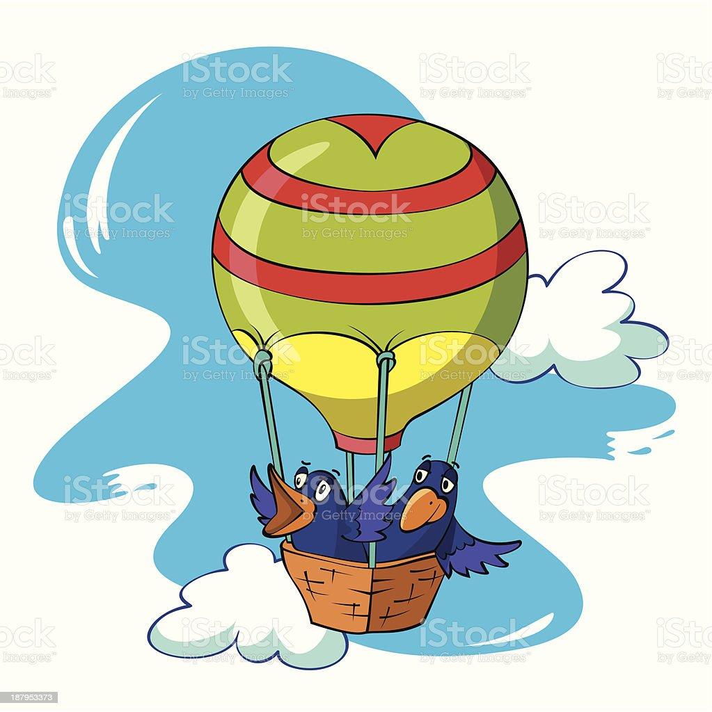 birds fly in a balloon royalty-free stock vector art