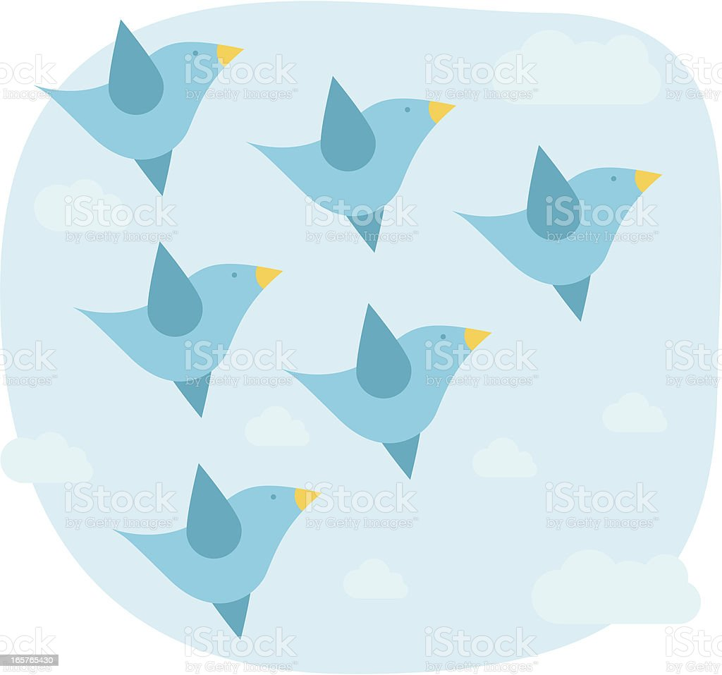 birds fly vector art illustration