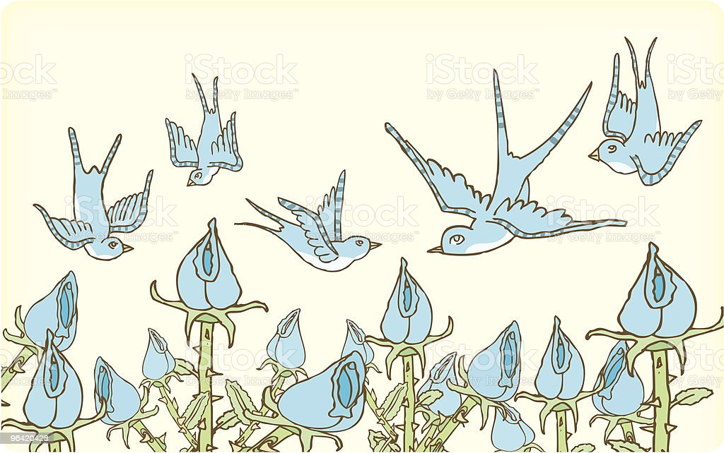 Birds Flying Around Flowers vector art illustration