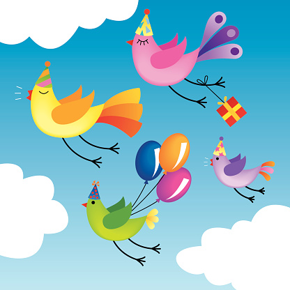 Birds flying to a birthday party