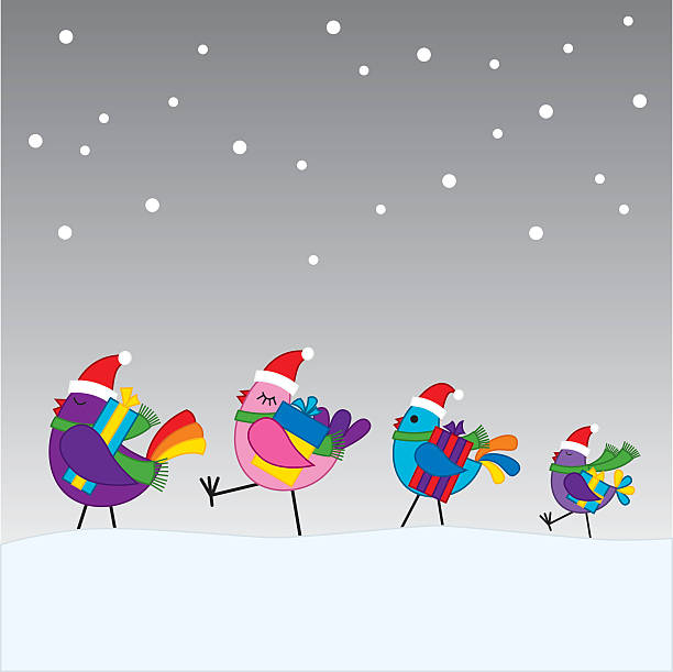 Birds going to a christmas party vector art illustration