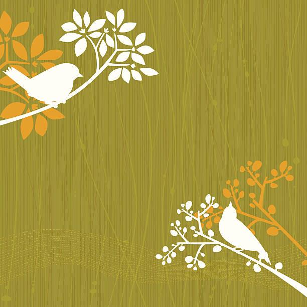 Birds Green Background vector art illustration