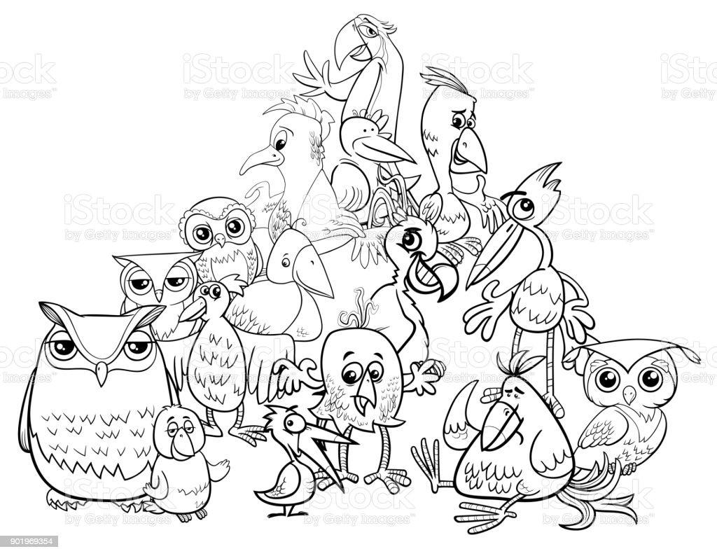Kuşlar Grup çizgi Film Illüstrasyon Boyama Kitabı Stok Vektör Sanatı