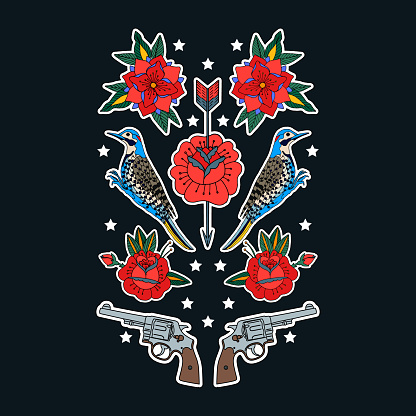Birds, gun and roses. Print on tshirts and other materials. Set of stickers, pins, patches and handwritten notes collection in cartoon. Vector illustration