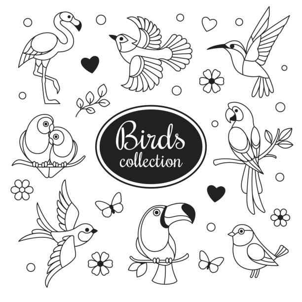 鳥アイコンのコレクション。 - 鳥のタトゥー点のイラスト素材/クリップアート素材/マンガ素材/アイコン素材