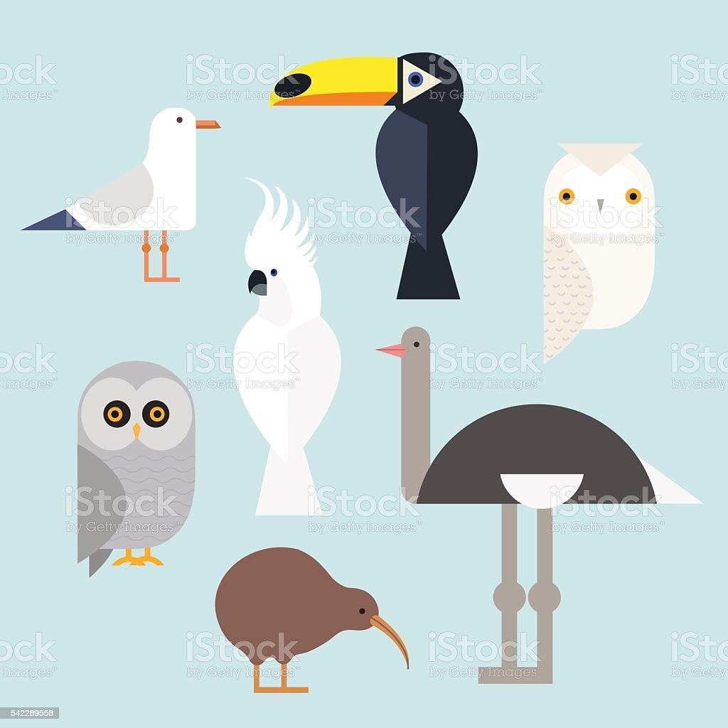 Birds icons set vector art illustration