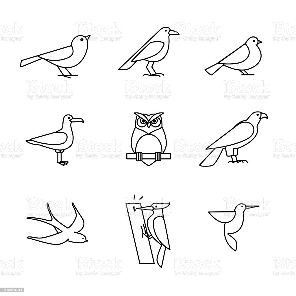 Birds icons thin line art set vector art illustration