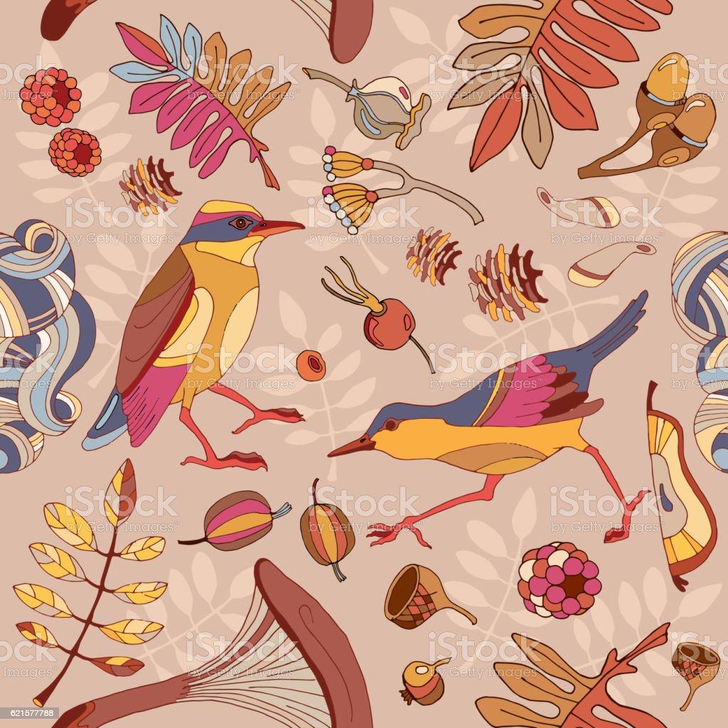 Birds in autumn forest seamless pattern birds in autumn forest seamless pattern – cliparts vectoriels et plus d'images de automne libre de droits