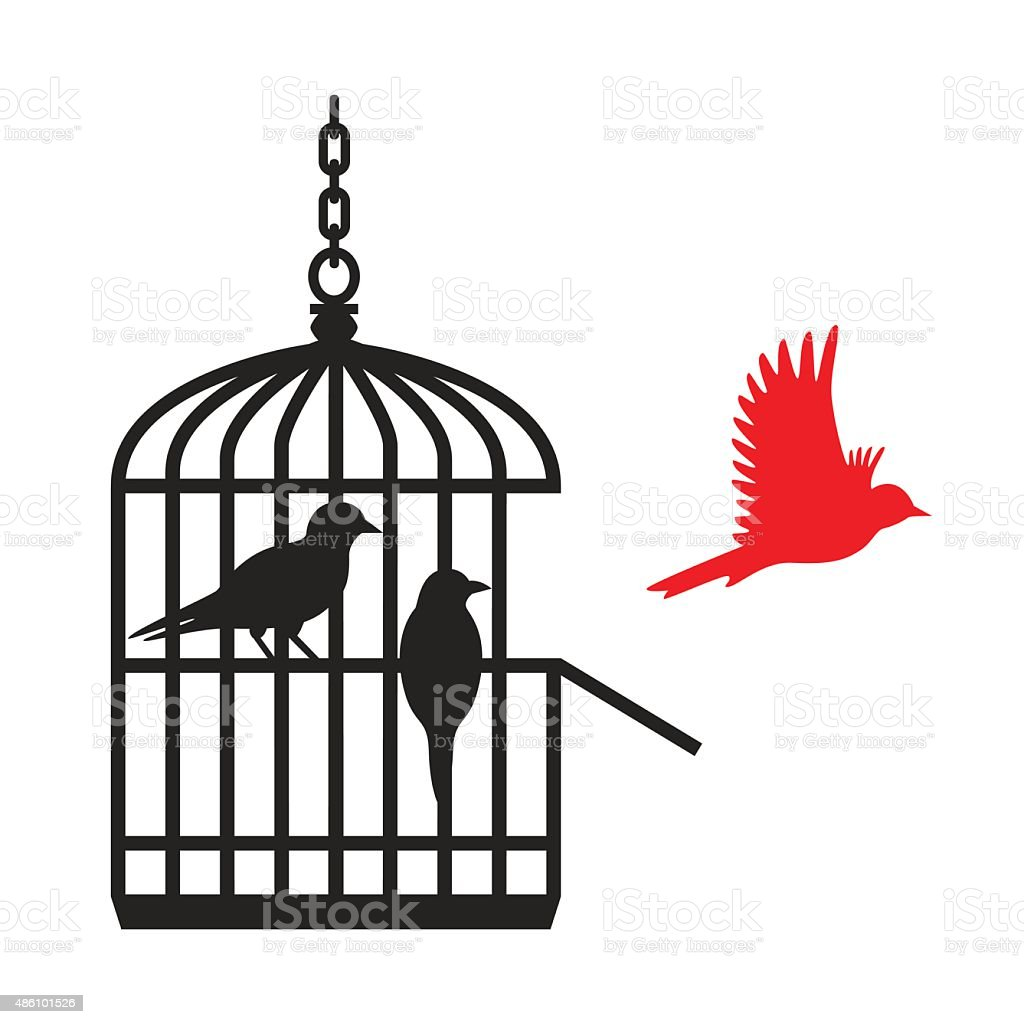 Birds in cage red one flying away - VECTOR vector art illustration