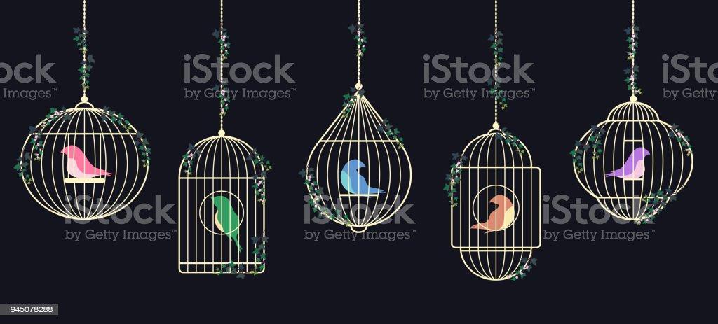 Birds in cages vector art illustration