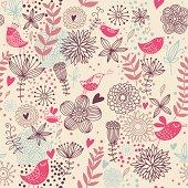 Birds in flowers