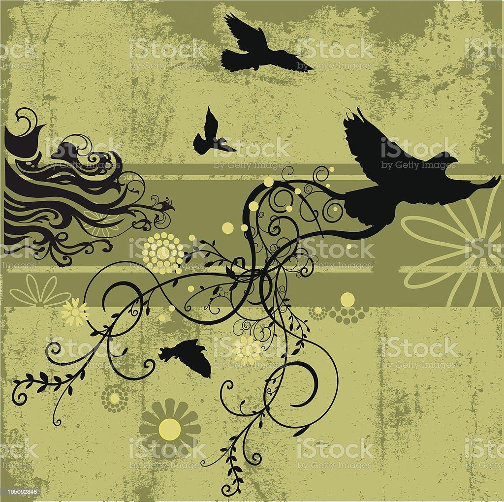 Birds in grunge vector art illustration