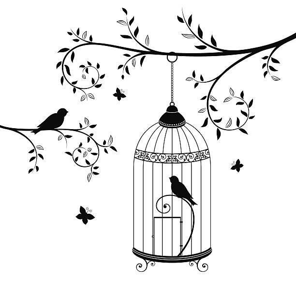 illustrations, cliparts, dessins animés et icônes de oiseaux en cage - dessin cage a oiseaux