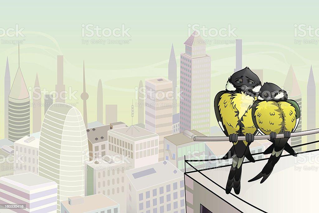 Birds in the City royalty-free stock vector art