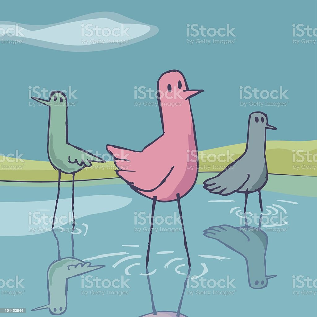 Birds in the lake. royalty-free birds in the lake stock vector art & more images of animal