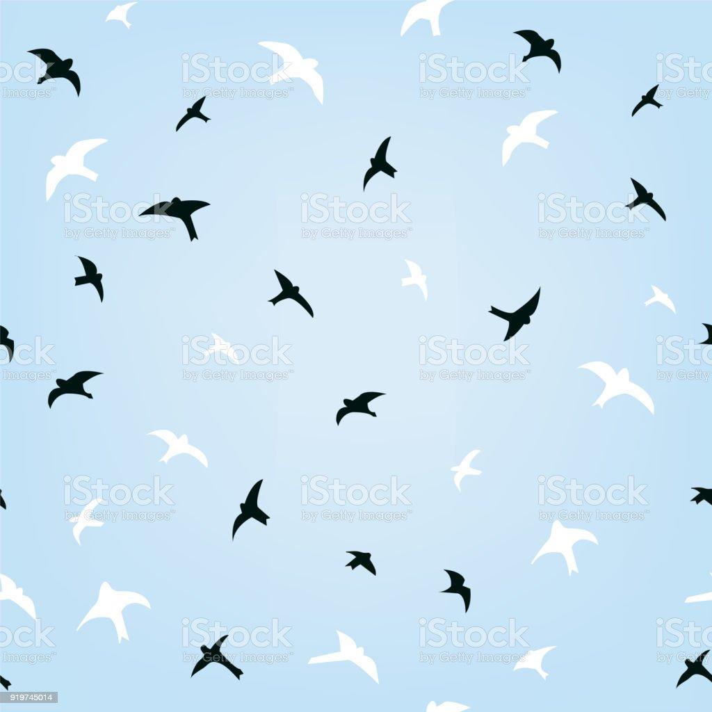 Birds in the sky flying seamless pattern, illustration vector art illustration