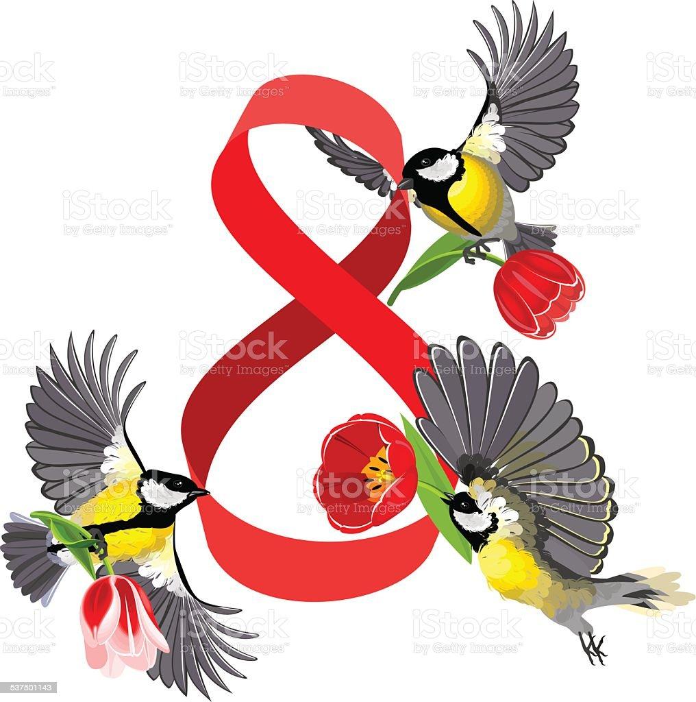 Birds in the Women's Day vector art illustration