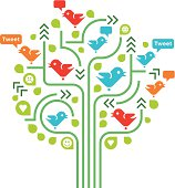 Concept illustration – birds in a tree – visualizing social networking / connecting people