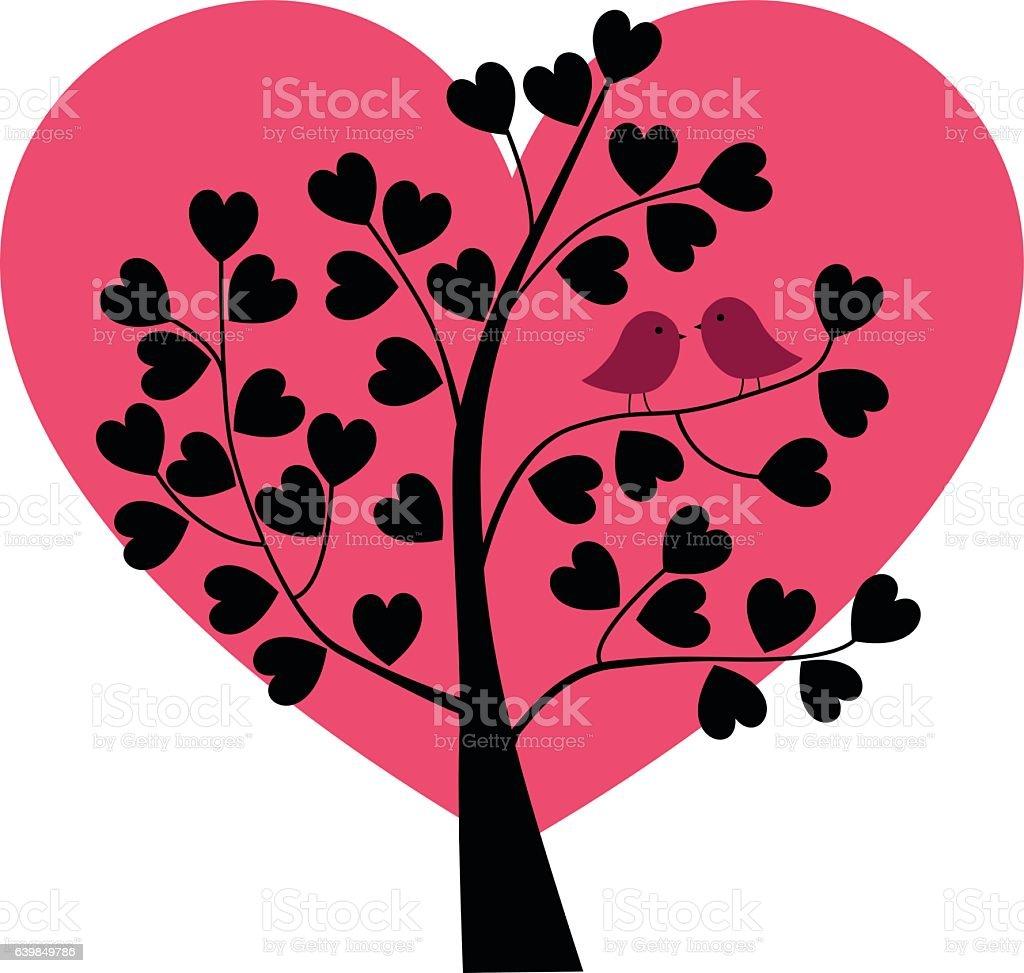 Birds In Valentine Heart Tree Stock Illustration Download Image Now Istock