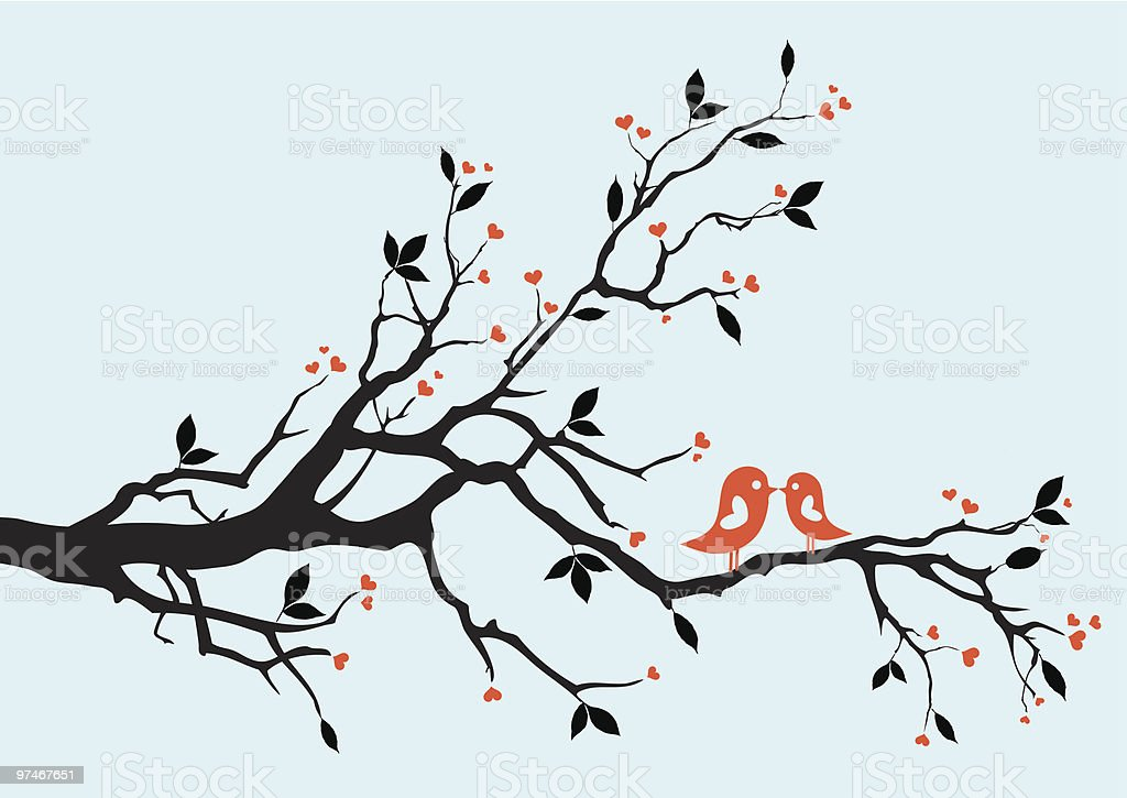 birds kissing on a branch royalty-free birds kissing on a branch stock vector art & more images of animal