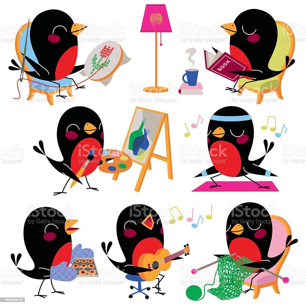 Birds Leisure and Hobbies. vector art illustration