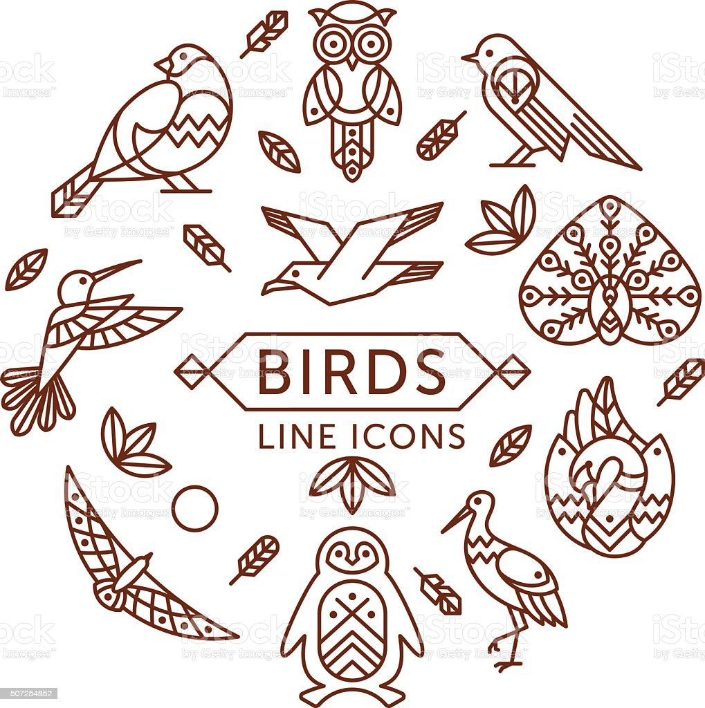 Birds line icons vector art illustration