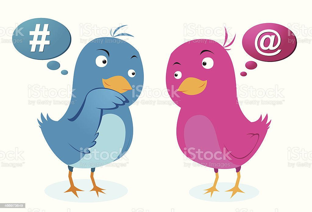 Birds love communication vector art illustration