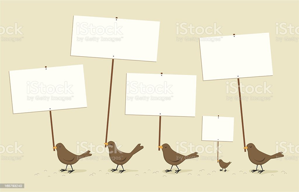 Birds marching with signs royalty-free birds marching with signs stock vector art & more images of animal