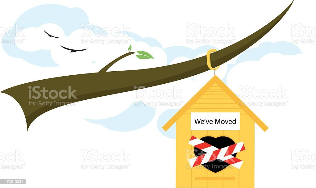 Birds Moving From Their Home vector art illustration