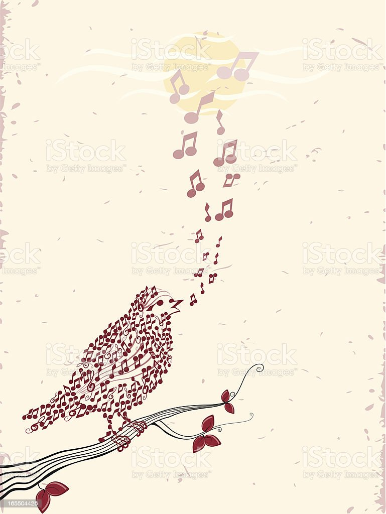 Birds & Music vector art illustration