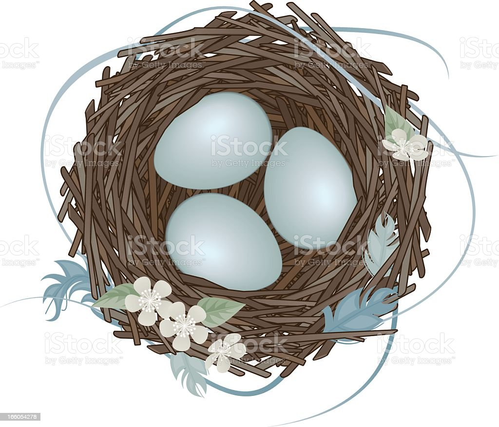 Bird's nest with eggs and flowers vector art illustration