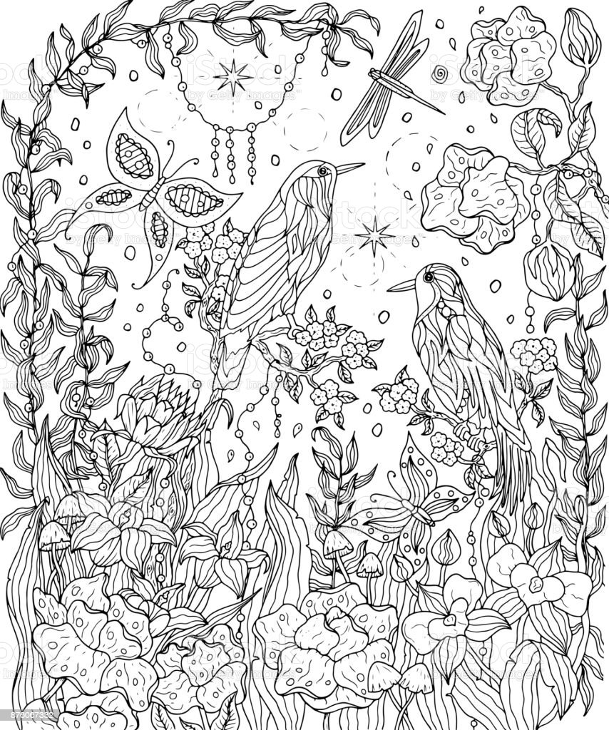Birds of paradise and flowers coloring page. vector art illustration