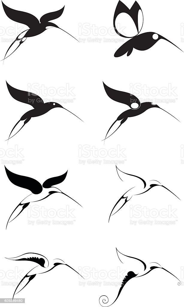 Birds of paradise icon set vector art illustration