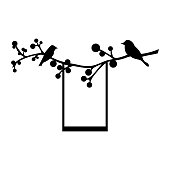 Birds on a branch with a swing. Vector illustration.