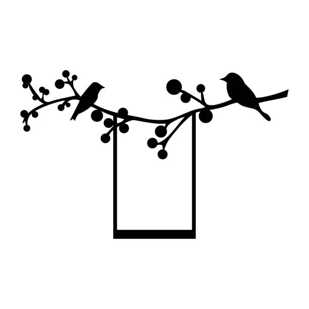birds on a branch with a swing. vector illustration. - square foot garden stock illustrations, clip art, cartoons, & icons