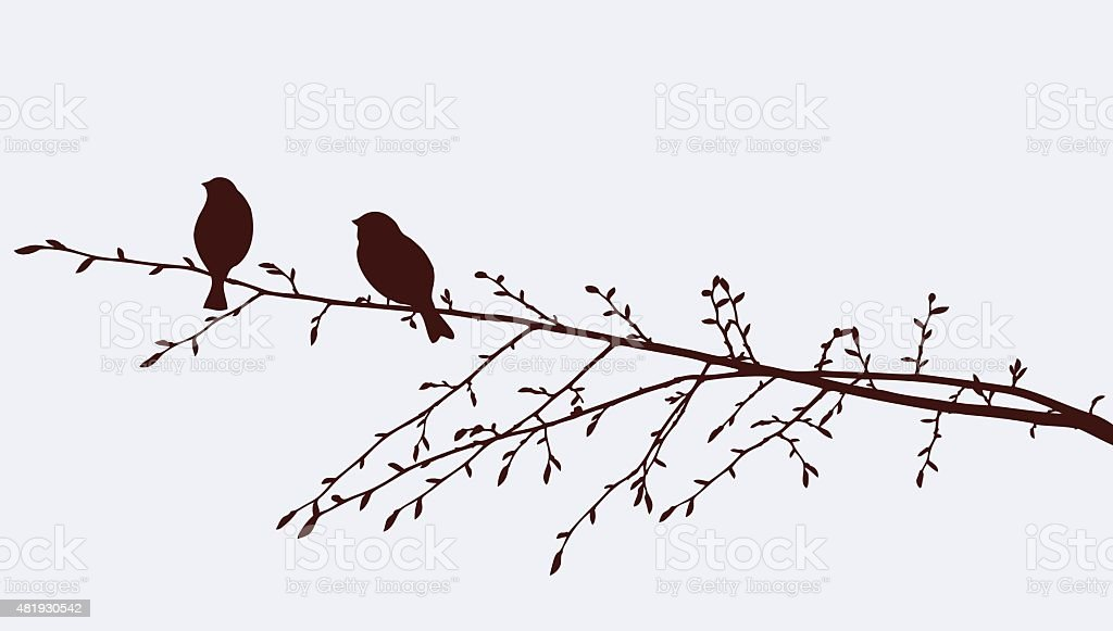 birds on a sprig vector art illustration