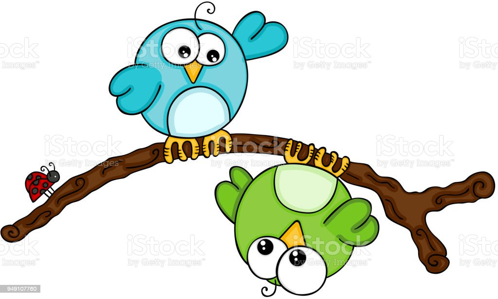 Aves no ramo com joaninha - ilustração de arte em vetor
