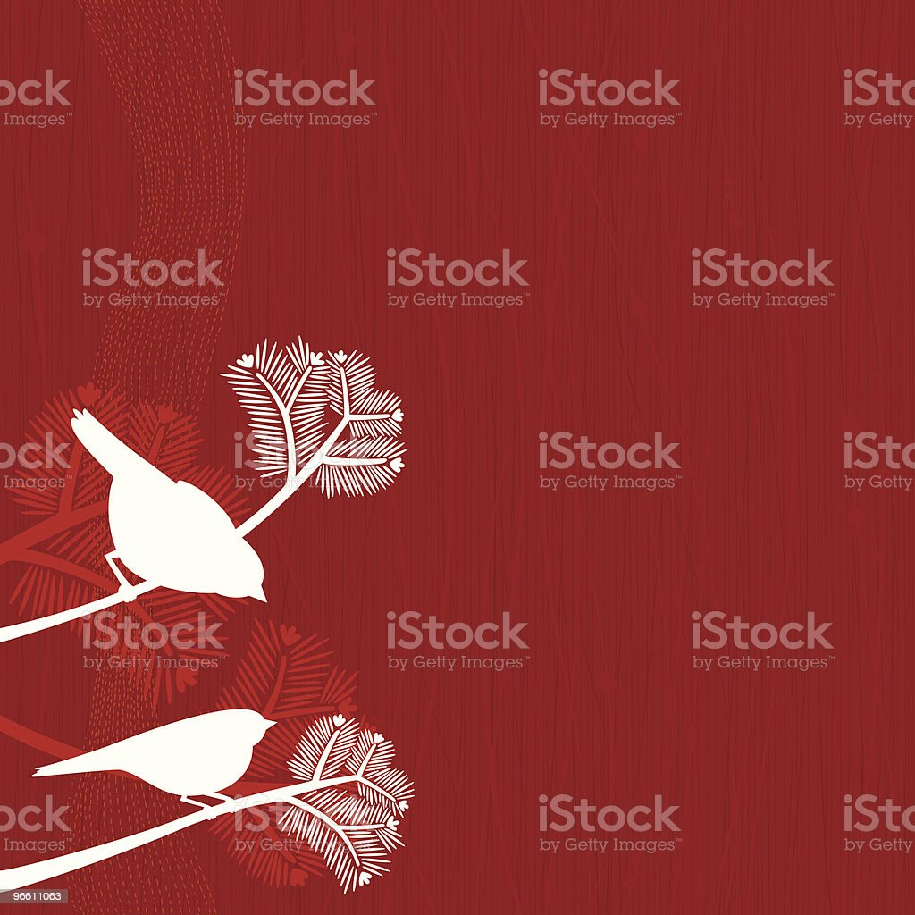 Birds on Pine Tree - Royaltyfri Blommönster vektorgrafik
