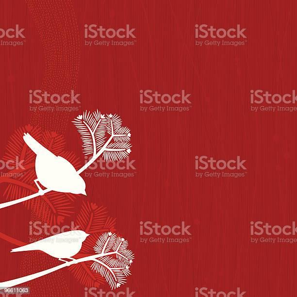 Birds On Pine Tree-vektorgrafik och fler bilder på Blommönster
