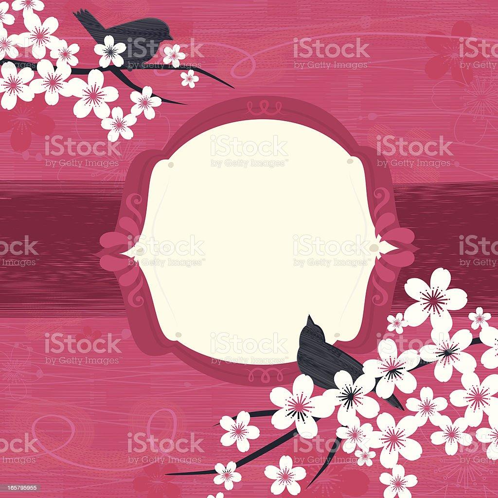 Birds on Sakura tree branches royalty-free stock vector art
