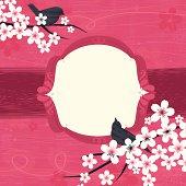 Birds on Sakura tree branches