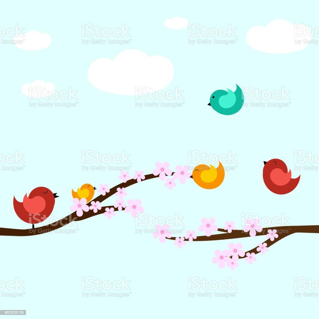 Birds On Tree Branch Template Vectorillustration Stock Vector Art