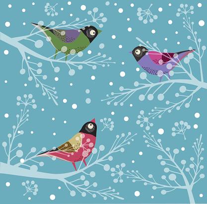 Birds On Tree, Winter