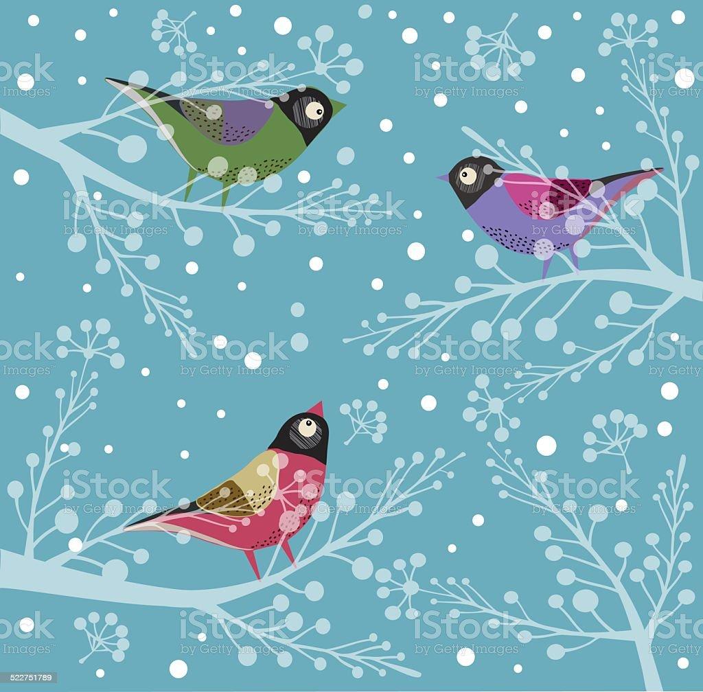Birds On Tree, Winter vector art illustration