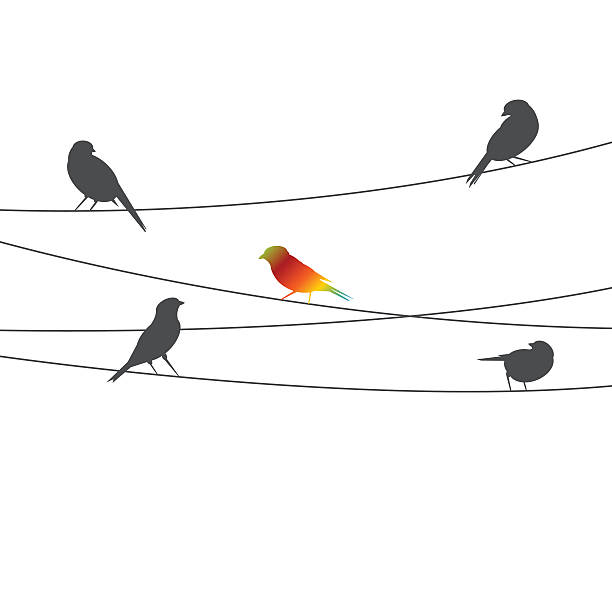 Birds on wire - think different concept vector art illustration
