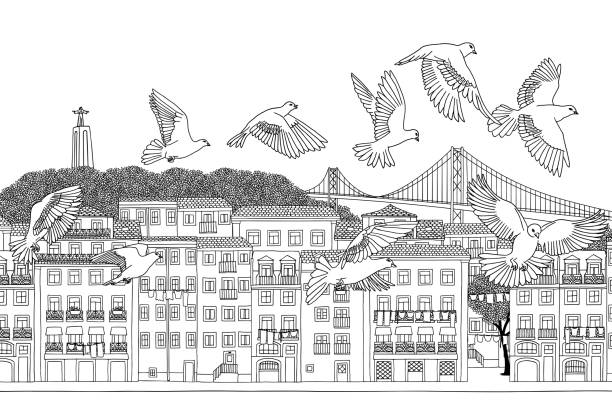 birds over lisbon, portugal - lizbona stock illustrations