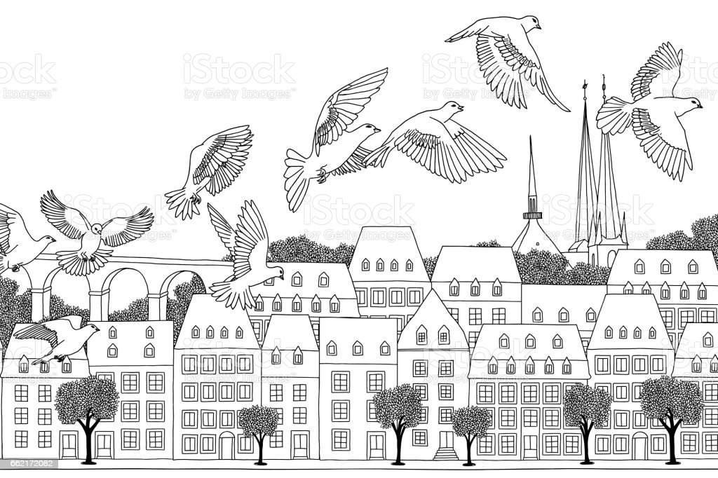 Birds over Luxembourg vector art illustration
