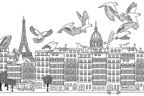 Birds over Paris Paris, France - hand drawn black and white cityscape with birds paris black and white stock illustrations