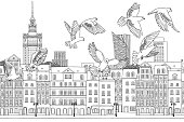 Hand drawn black and white illustration of the city with a flock of pigeons