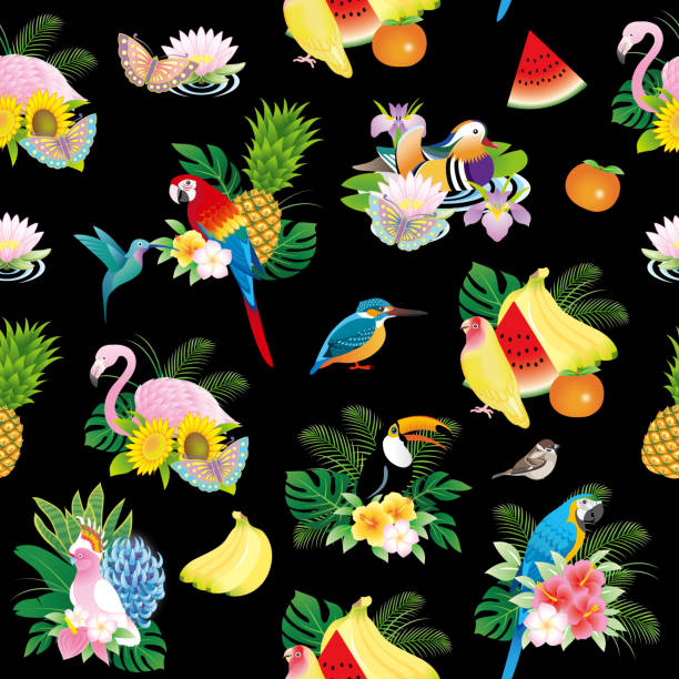 stockillustraties, clipart, cartoons en iconen met vogels patroon - iris plant